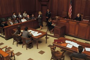 Trial in courtroom